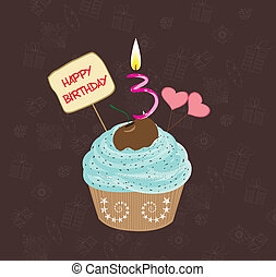 petit gâteau, anniversaire, trois, nombre
