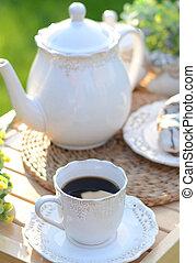petit gâteau, café, noir, tasse