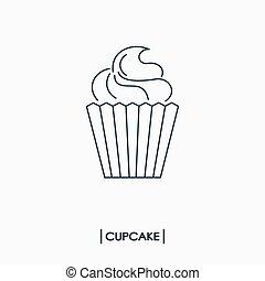 petit gâteau, contour, icône