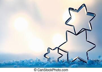 petit gâteau, coupeurs, étoile, cristaux neige