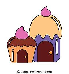 petit gâteau, délicieux, maisons, isolé, icône
