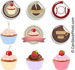 petit gâteau, et, étiquettes, ensemble