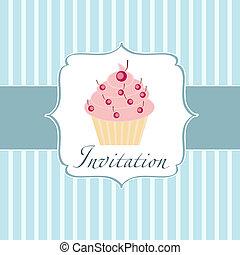 petit gâteau, invitation, fond
