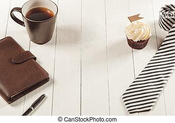 petit gâteau, pères, créatif, délicieux, cravate, concept., table., jour