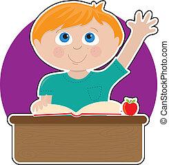 petit garçon, à, école