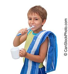 petit garçon, brossage, sien, dents