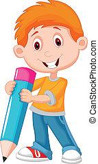 petit garçon, crayon, dessin animé