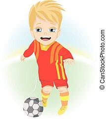 petit garçon, extérieur, jeu boule, football, heureux
