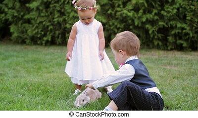 petit garçon, girl, jouer