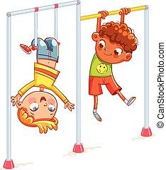 petit garçon, jouer, sur, les, horizontal, barre
