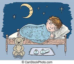 petit garçon, lit, dormir, sien