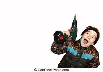 petit garçon, rigolote, screwdrive