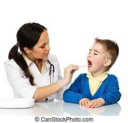 petit garçon, vérification, gorge, à, pédiatre