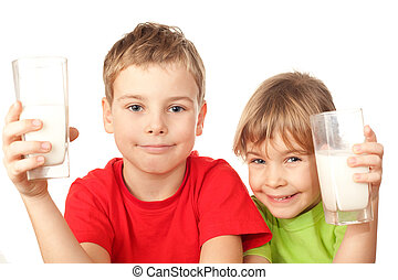 petit, gentil, girl, et, garçon, boisson, savoureux, lait...