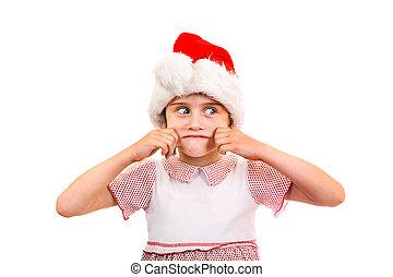 petit, girl, chapeau, santa