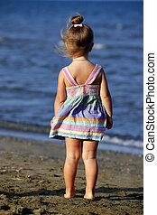 petit, girl, plage