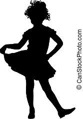 petit, girl, silhouette, heureux