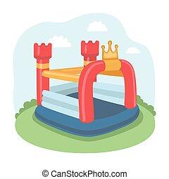petit, gonflable, videur, illustration, château, trampoline, pré, vecteur, air, coloré