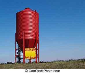 petit, grain, rouges, silo