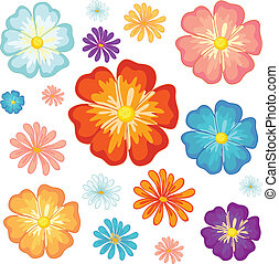 petit, grand, fleurs