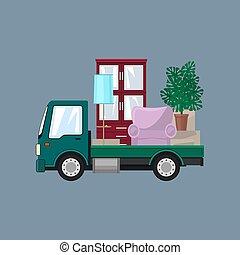 petit, gris, camion, fond, meubles