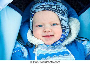 petit, heureux, hiver, enfant