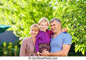 petit, heureux, parents, adulte, fils