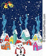 petit, hiver, village