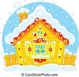 petit, hutte, bûche, neige