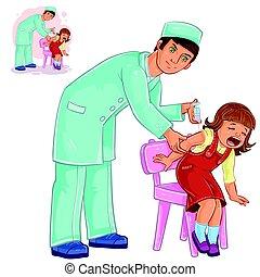 petit, infirmière, vecteur, inoculation, girl