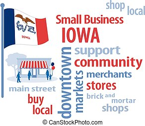 petit, iowa, drapeau, business