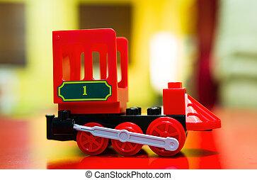petit, jouet bébé, locomotive, plastique