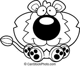 petit, lion, dessin animé, séance