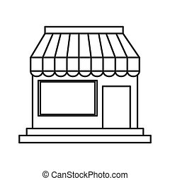 petit, magasin, icône