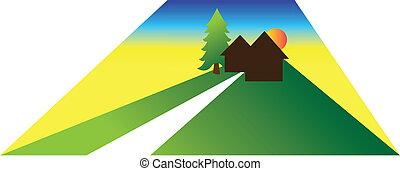 petit, maison, grand, yard