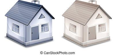 petit, maisons, deux, village