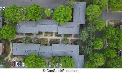 petit, maisons, ville, voisinage, paysage, toits, vue