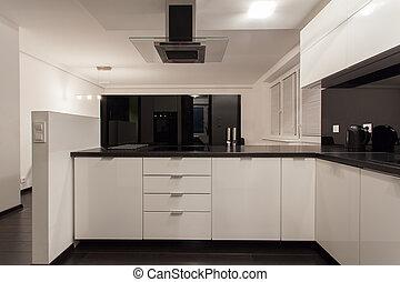 petit, minimaliste, appartement, -, cuisine