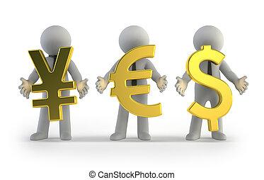 petit, monnaie, 3d, -, gens