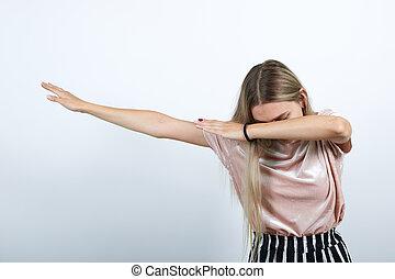 petit morceau, jeune, geste, rose, femme, pastel, adolescent, danse, mains, chemise
