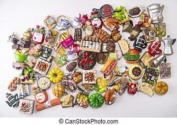 petit, nourriture, aimants