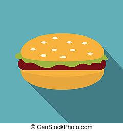 petit pâté, brioche, salade verte, icône, hamburger, viande