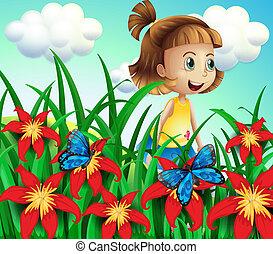 petit, papillons, jardin fleur, girl