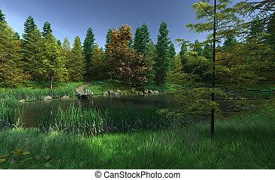 petit, pays boisé, lac, jetée