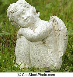 petit, pelouse, figurine, ange, séance