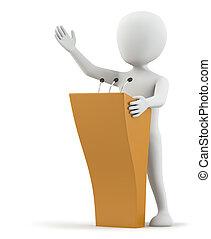 petit, personne, parle, podium., 3d