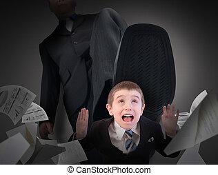 petit, peur, marché, homme affaires