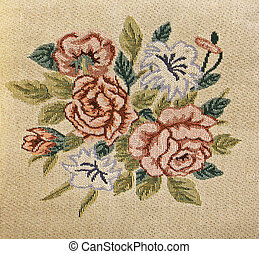 Petit point stitched canvas - Sample of petit point stitches...