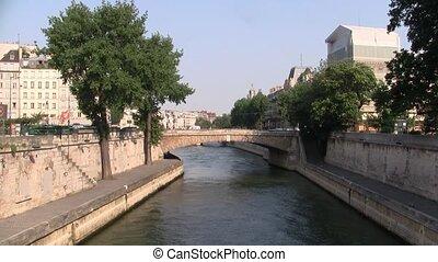 Petit Pont Crossing the River Seine in Paris France