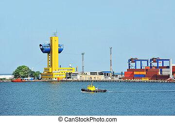 petit, port, bateau